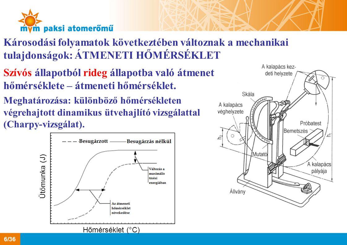 Károsodási folyamatok következtében változnak a mechanikai tulajdonságok: ÁTMENETI HŐMÉRSÉKLET