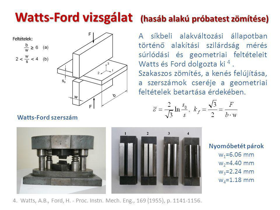 Watts-Ford vizsgálat (hasáb alakú próbatest zömítése)