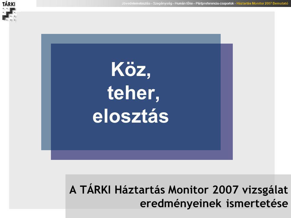 A TÁRKI Háztartás Monitor 2007 vizsgálat eredményeinek ismertetése