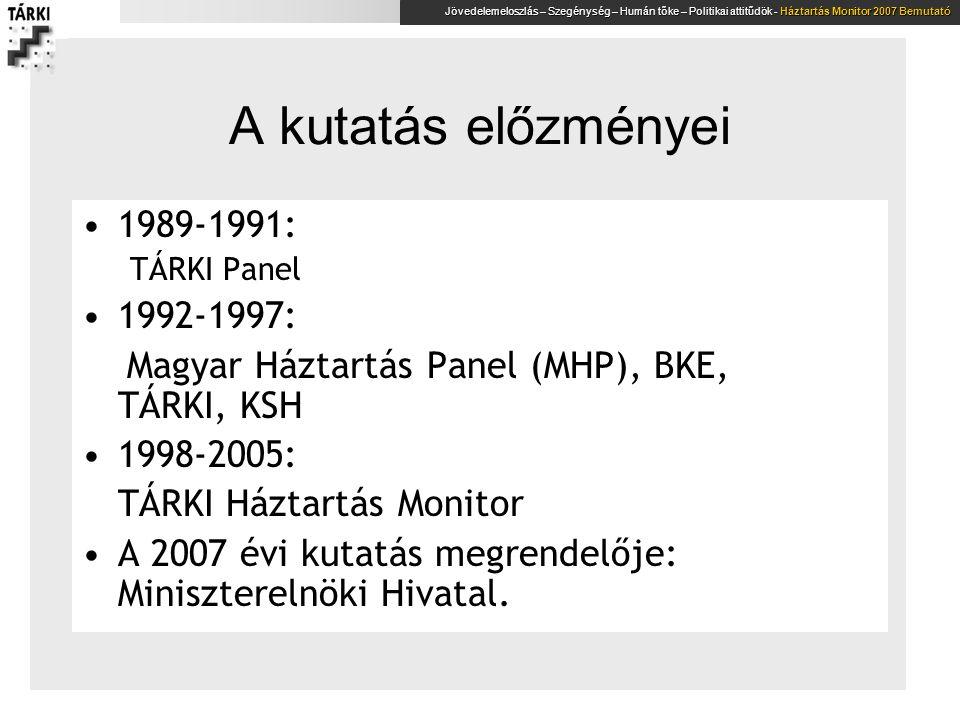 A kutatás előzményei 1989-1991: 1992-1997: