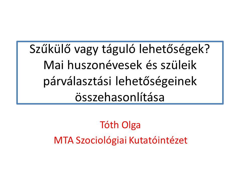 Tóth Olga MTA Szociológiai Kutatóintézet