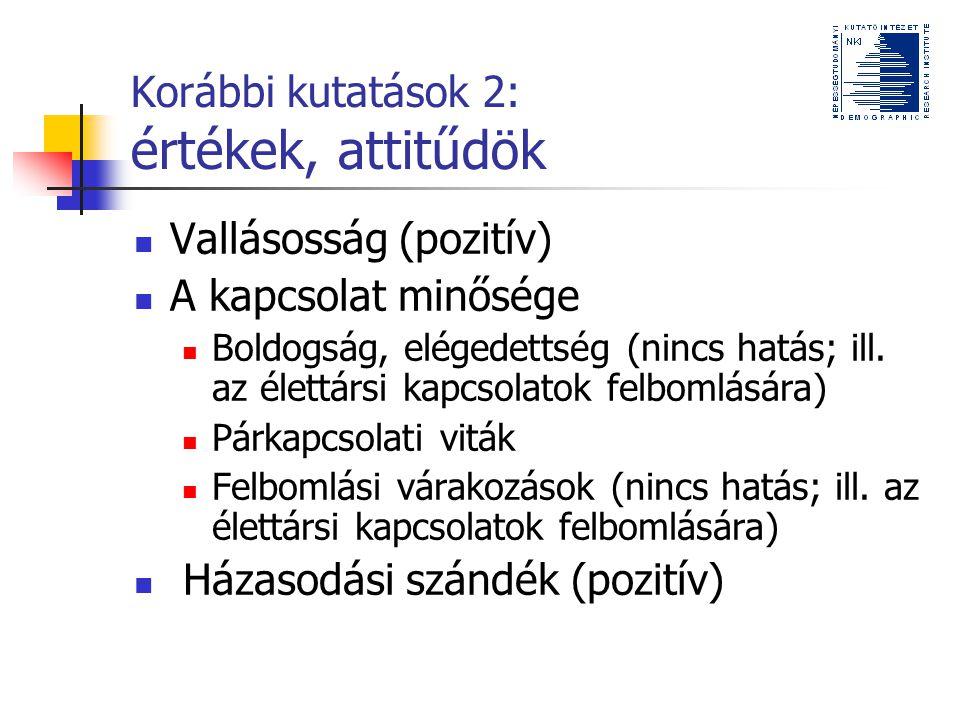 Korábbi kutatások 2: értékek, attitűdök
