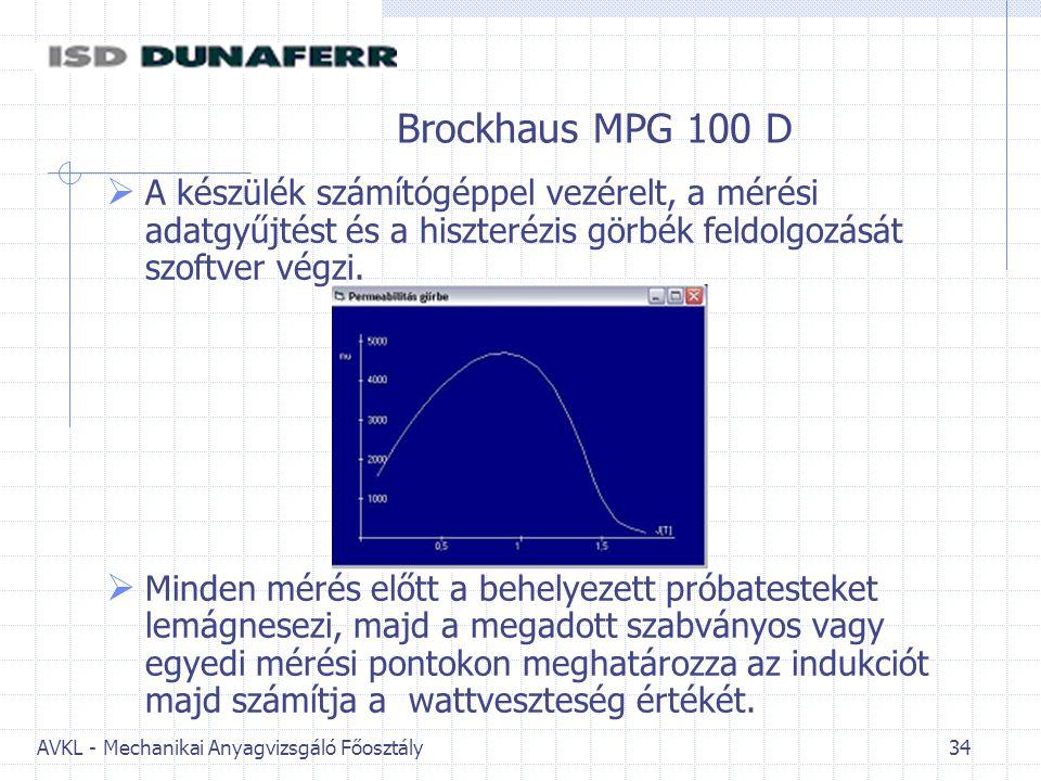 Brockhaus MPG 100 D A készülék számítógéppel vezérelt, a mérési adatgyűjtést és a hiszterézis görbék feldolgozását szoftver végzi.