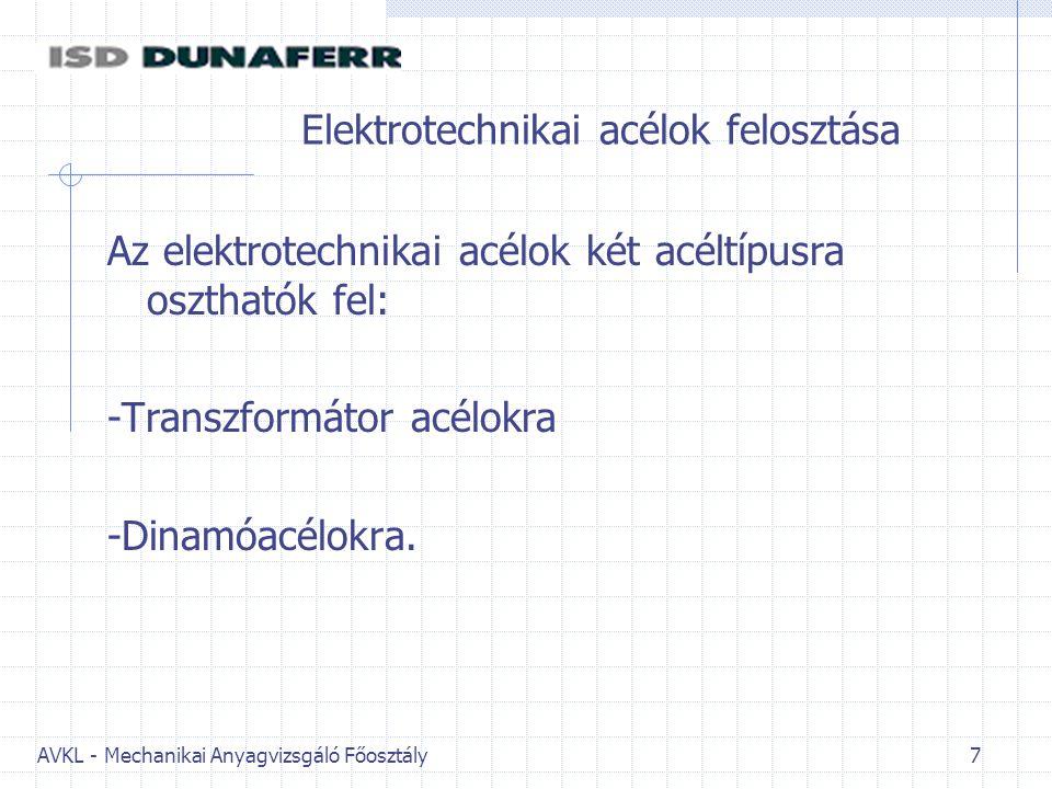 Elektrotechnikai acélok felosztása