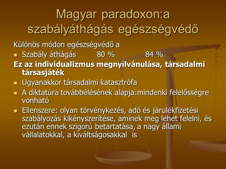 Magyar paradoxon:a szabályáthágás egészségvédő