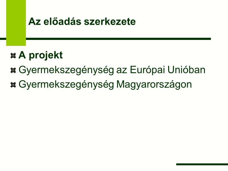 Az előadás szerkezete A projekt. Gyermekszegénység az Európai Unióban.