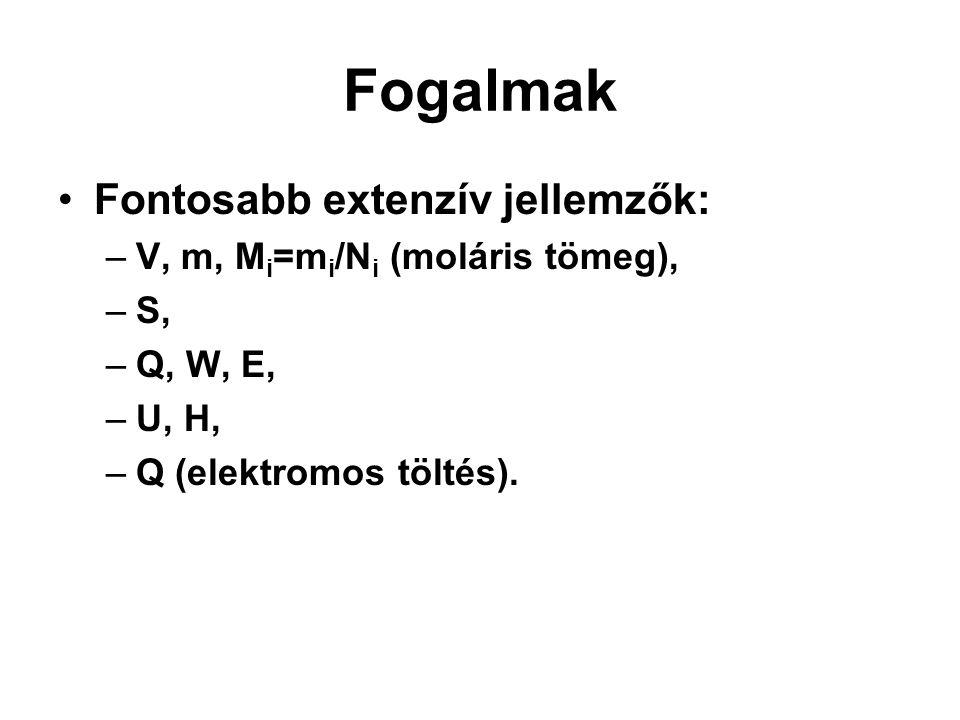 Fogalmak Fontosabb extenzív jellemzők: V, m, Mi=mi/Ni (moláris tömeg),