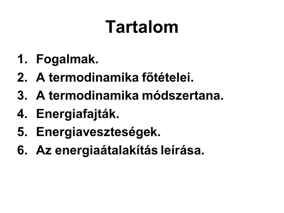 Tartalom Fogalmak. A termodinamika főtételei.