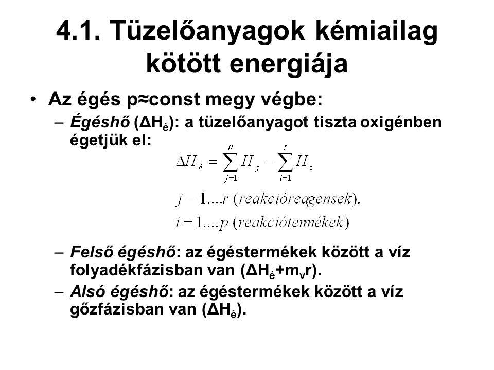 4.1. Tüzelőanyagok kémiailag kötött energiája