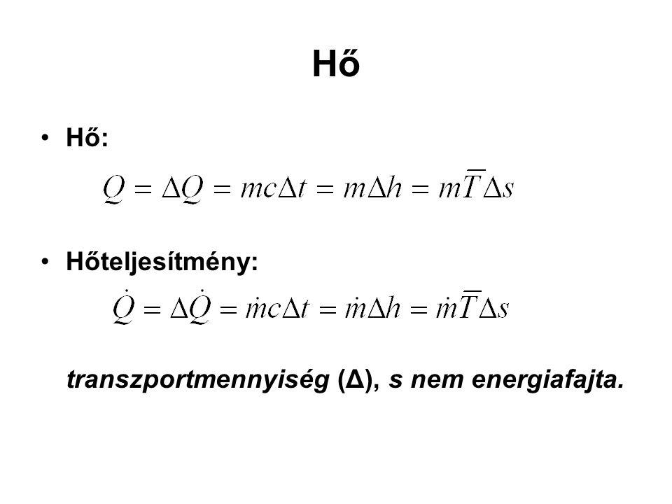 Hő Hő: Hőteljesítmény: transzportmennyiség (Δ), s nem energiafajta.