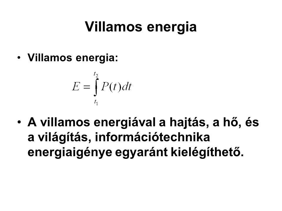 Villamos energia Villamos energia: A villamos energiával a hajtás, a hő, és a világítás, információtechnika energiaigénye egyaránt kielégíthető.