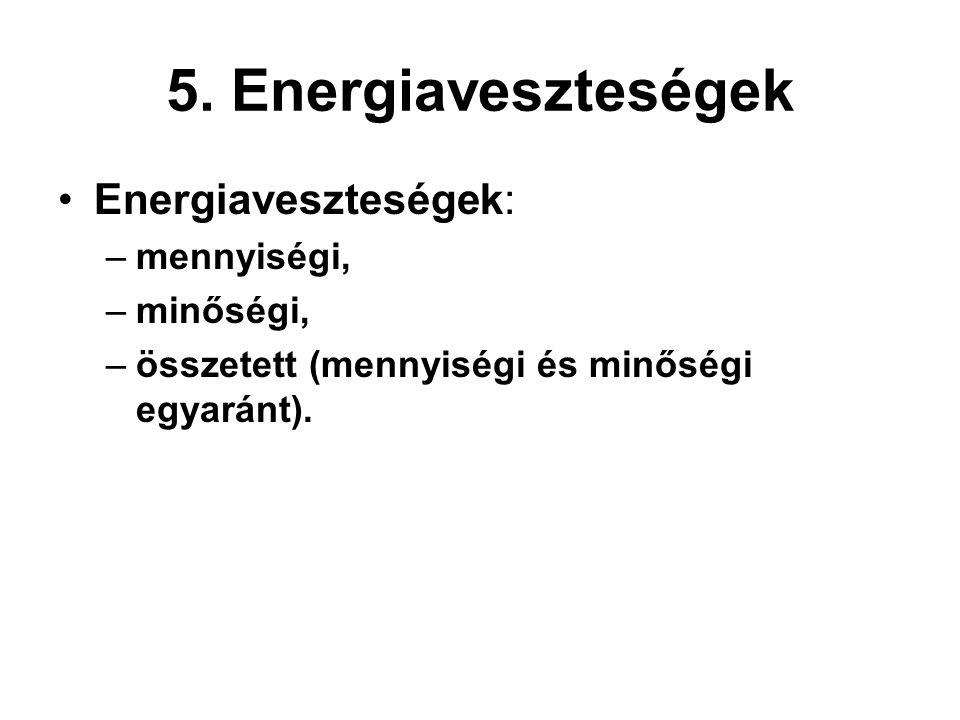 5. Energiaveszteségek Energiaveszteségek: mennyiségi, minőségi,