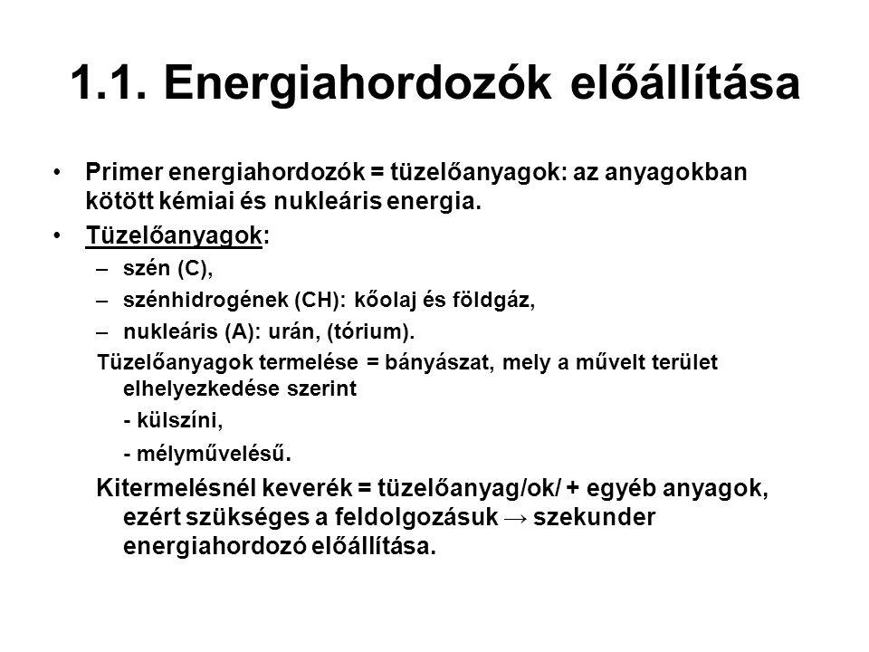 1.1. Energiahordozók előállítása