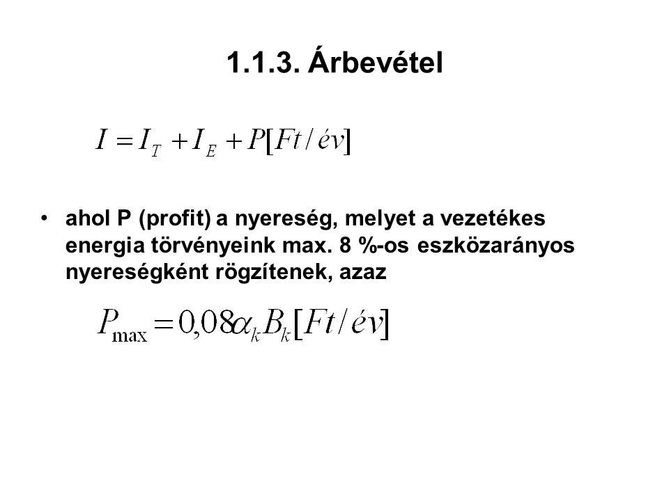 1.1.3. Árbevétel ahol P (profit) a nyereség, melyet a vezetékes energia törvényeink max.