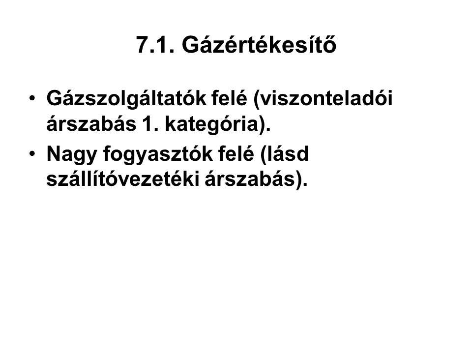 7.1. Gázértékesítő Gázszolgáltatók felé (viszonteladói árszabás 1.
