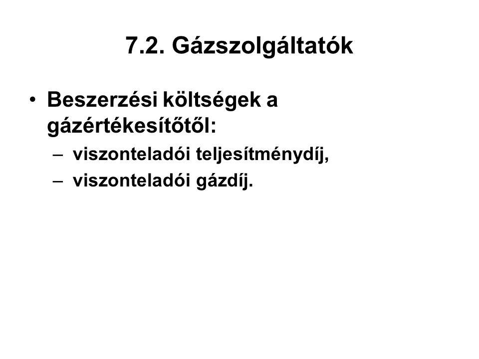 7.2. Gázszolgáltatók Beszerzési költségek a gázértékesítőtől: