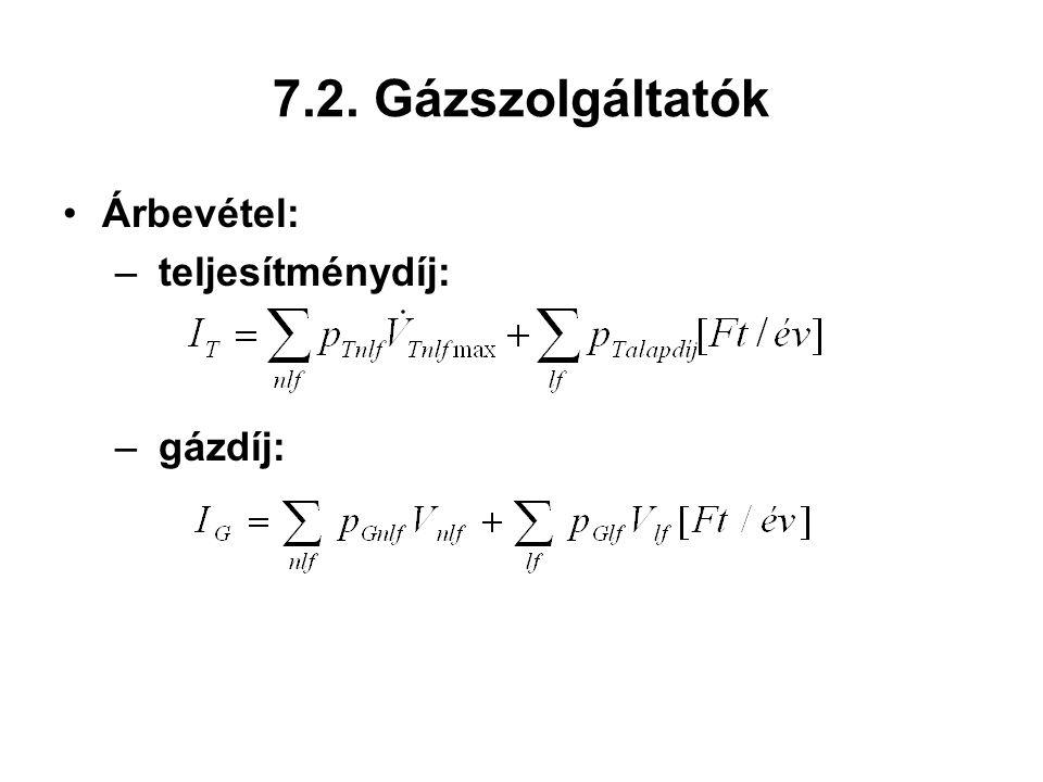 7.2. Gázszolgáltatók Árbevétel: teljesítménydíj: gázdíj: