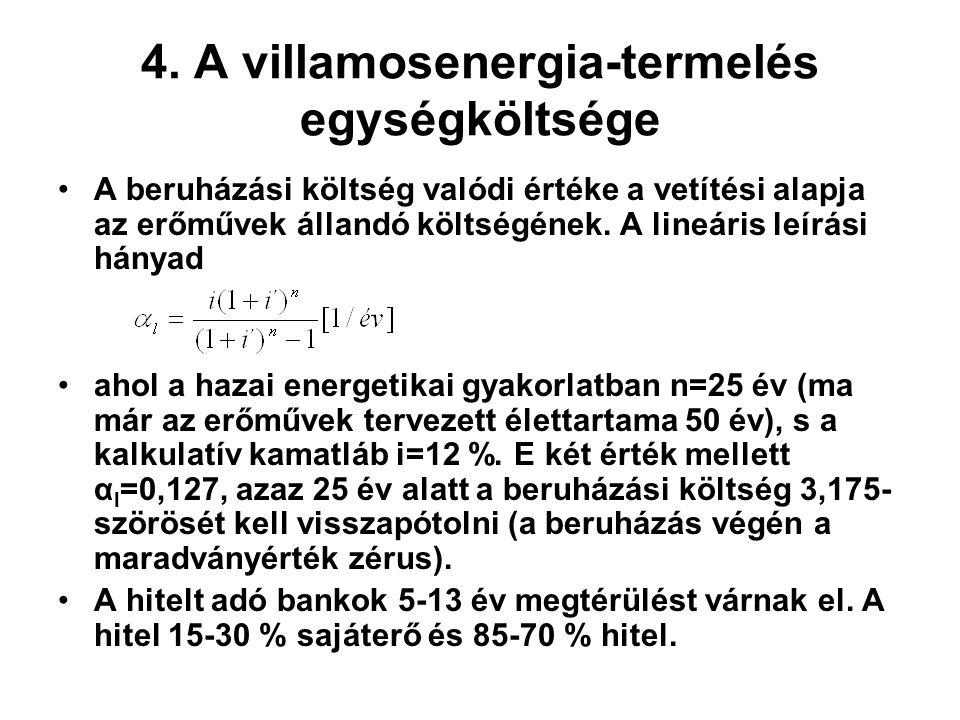 4. A villamosenergia-termelés egységköltsége