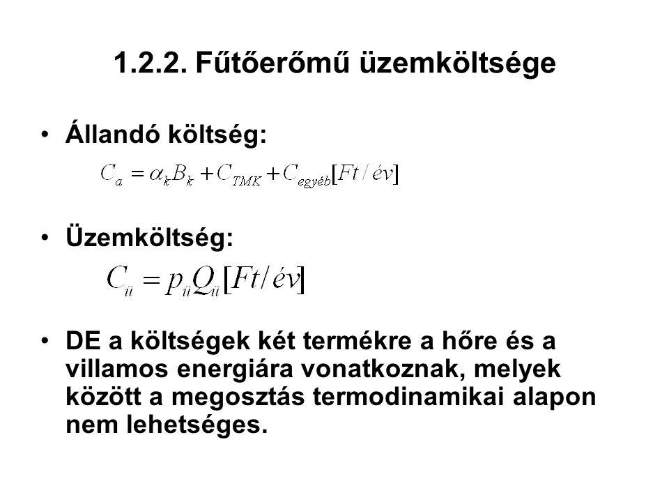 1.2.2. Fűtőerőmű üzemköltsége