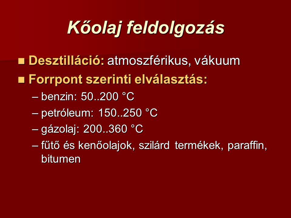 Kőolaj feldolgozás Desztilláció: atmoszférikus, vákuum