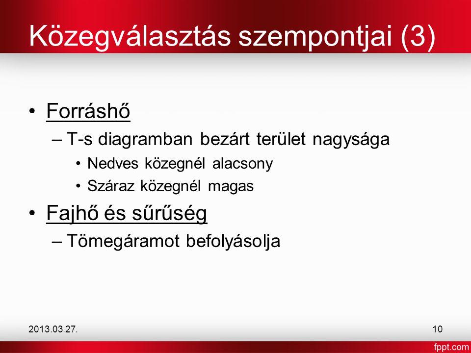 Közegválasztás szempontjai (3)