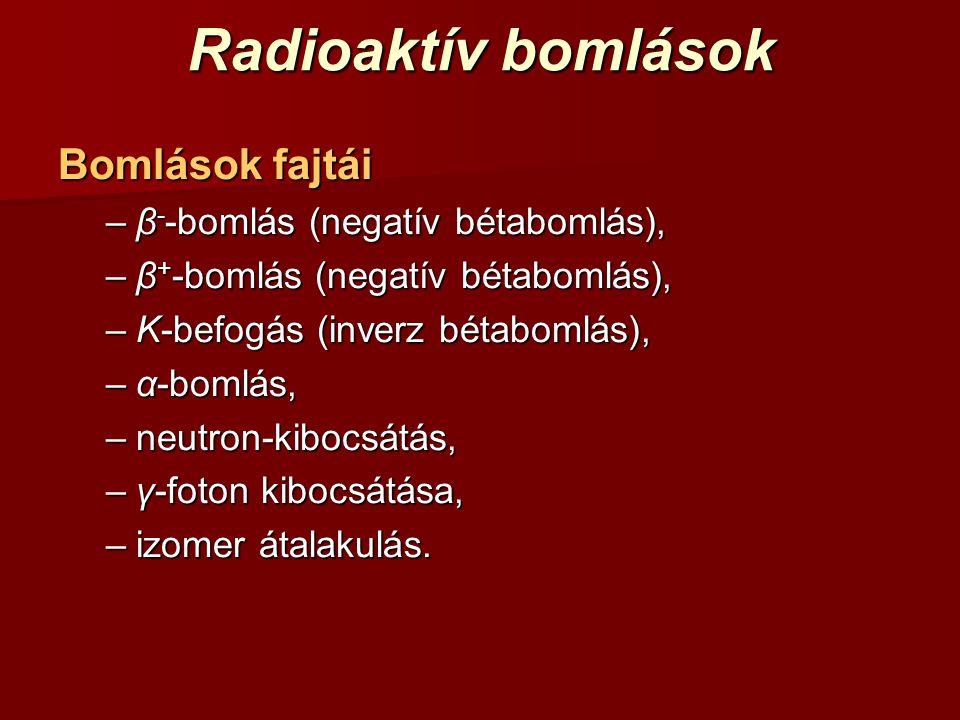 Radioaktív bomlások Bomlások fajtái β--bomlás (negatív bétabomlás),