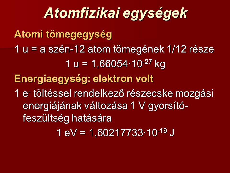 Atomfizikai egységek Atomi tömegegység