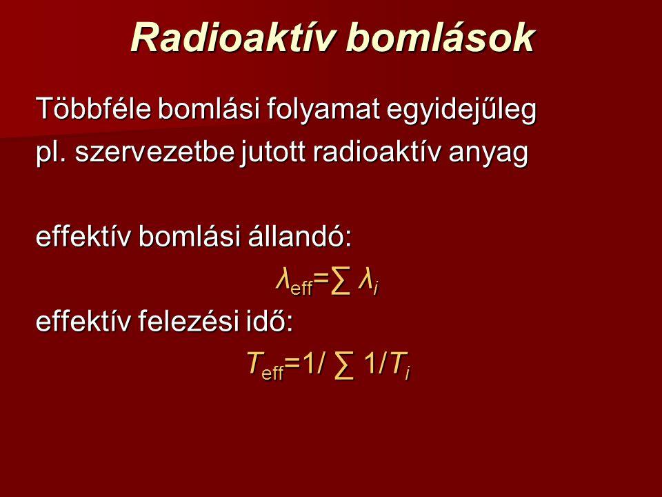 Radioaktív bomlások Többféle bomlási folyamat egyidejűleg
