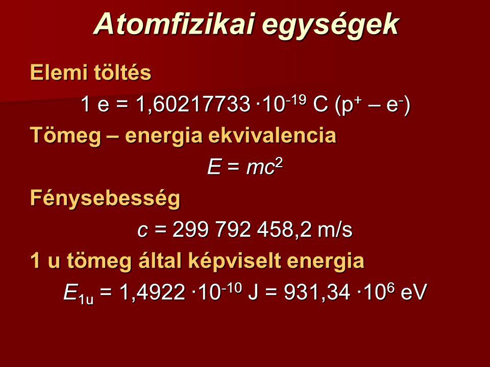 Atomfizikai egységek Elemi töltés 1 e = 1,60217733 ·10-19 C (p+ – e-)