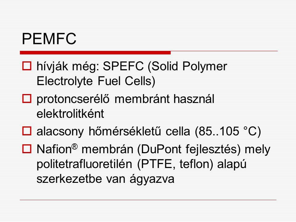 PEMFC hívják még: SPEFC (Solid Polymer Electrolyte Fuel Cells)