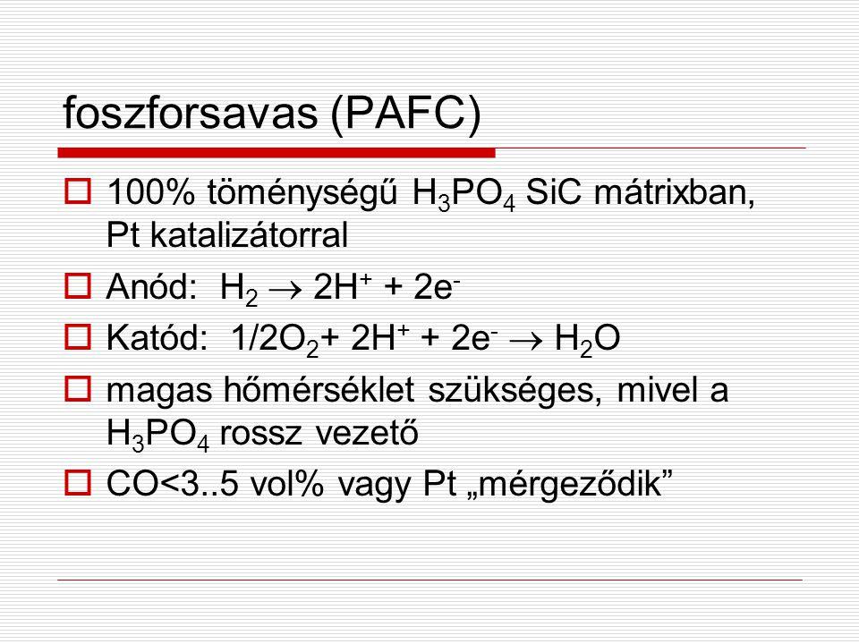 foszforsavas (PAFC) 100% töménységű H3PO4 SiC mátrixban, Pt katalizátorral. Anód: H2  2H+ + 2e- Katód: 1/2O2+ 2H+ + 2e-  H2O.