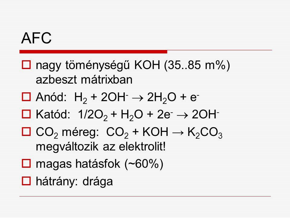 AFC nagy töménységű KOH (35..85 m%) azbeszt mátrixban