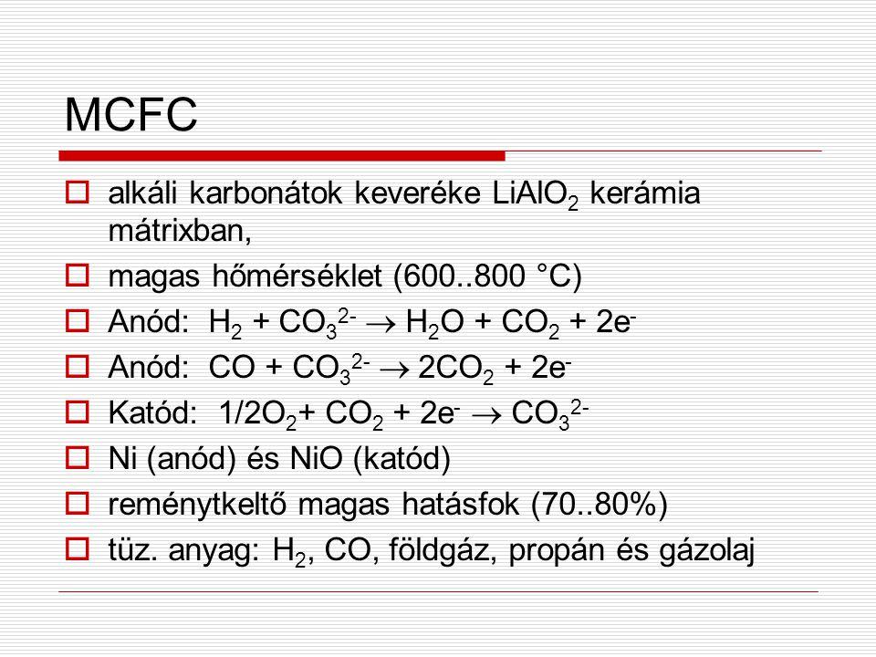MCFC alkáli karbonátok keveréke LiAlO2 kerámia mátrixban,
