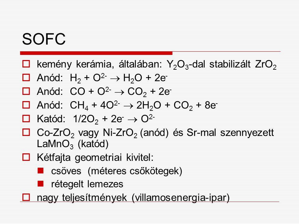 SOFC kemény kerámia, általában: Y2O3-dal stabilizált ZrO2