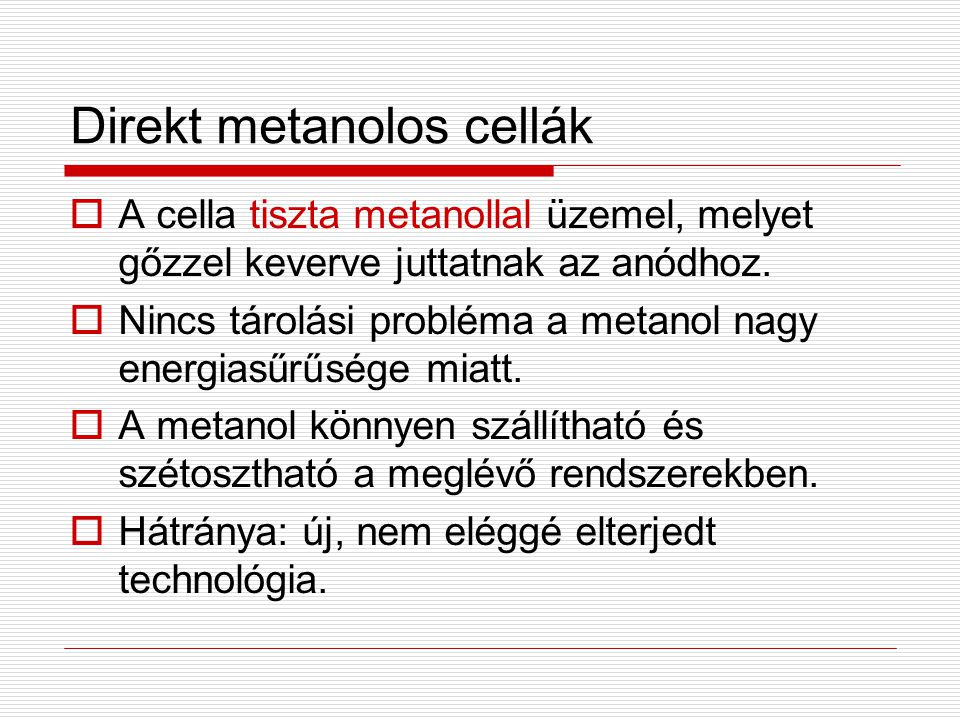 Direkt metanolos cellák