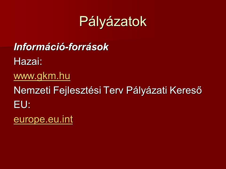 Pályázatok Információ-források Hazai: www.gkm.hu