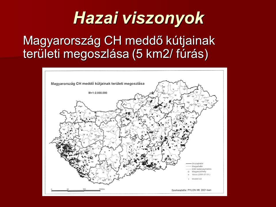 Hazai viszonyok Magyarország CH meddő kútjainak területi megoszlása (5 km2/ fúrás)