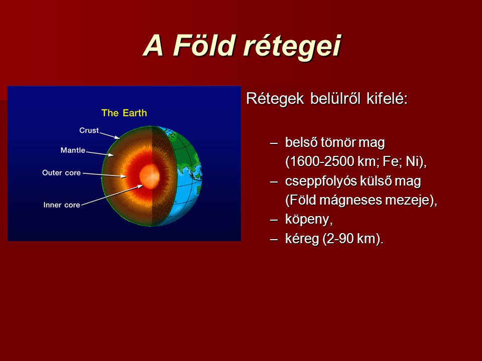 A Föld rétegei Rétegek belülről kifelé: belső tömör mag