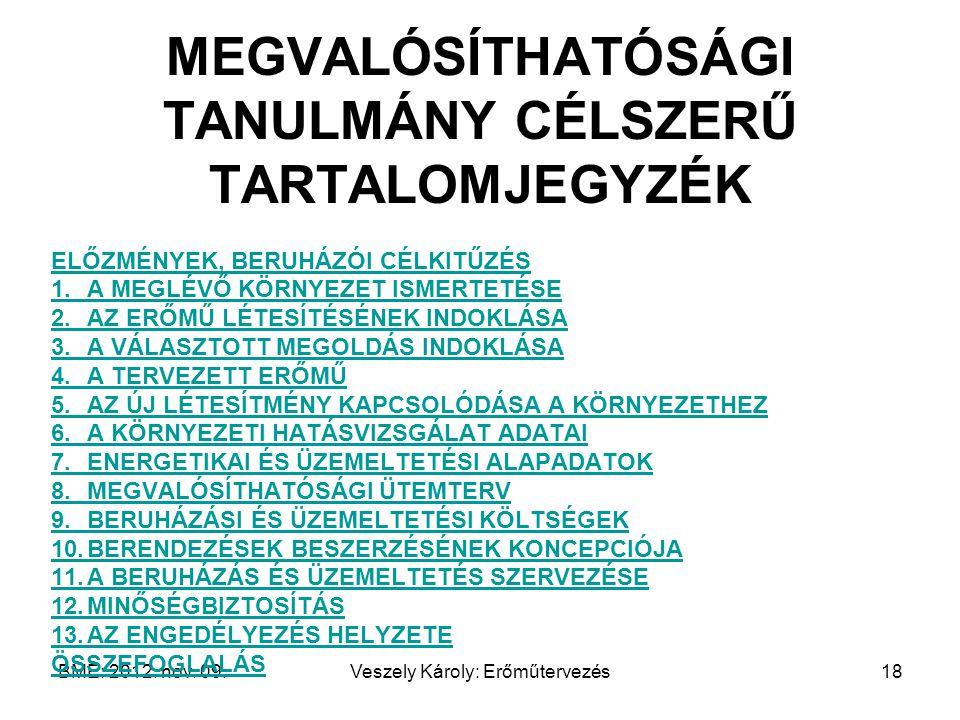 MEGVALÓSÍTHATÓSÁGI TANULMÁNY CÉLSZERŰ TARTALOMJEGYZÉK