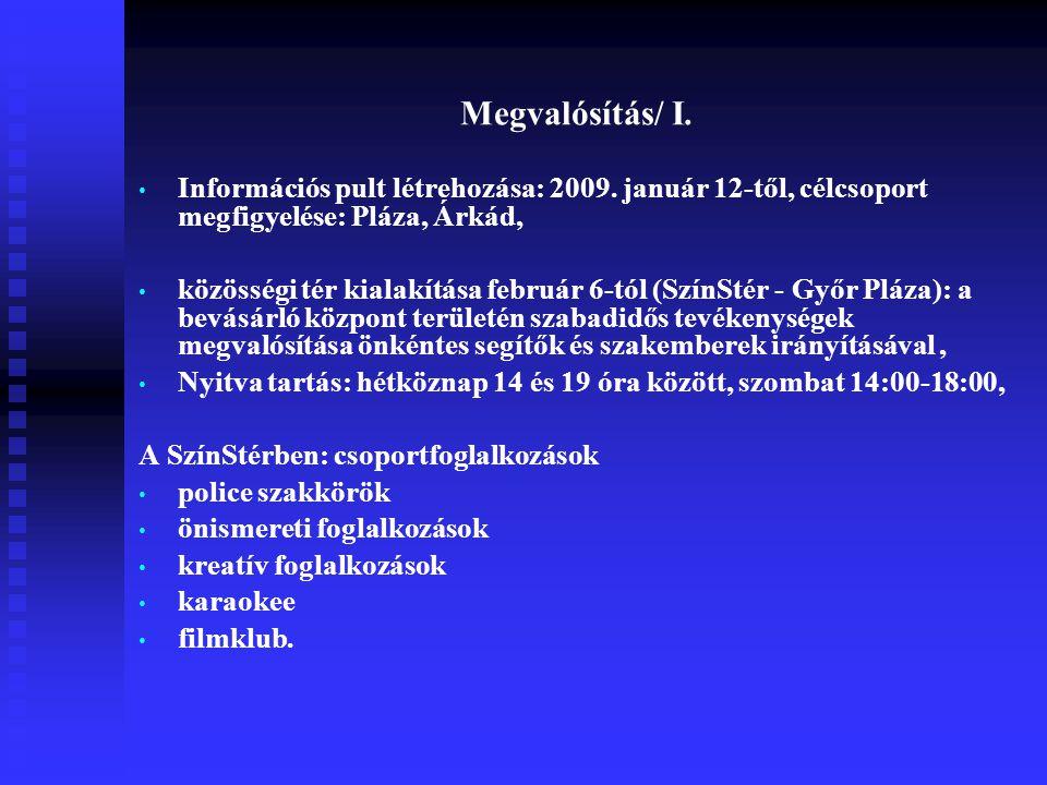 Megvalósítás/ I. Információs pult létrehozása: 2009. január 12-től, célcsoport megfigyelése: Pláza, Árkád,