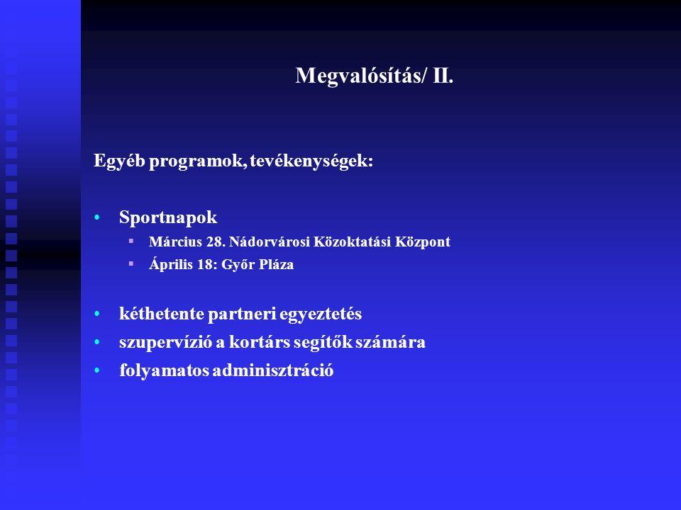 Megvalósítás/ II. Egyéb programok, tevékenységek: Sportnapok