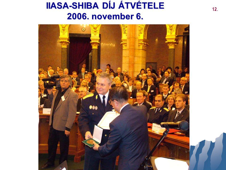 IIASA-SHIBA DÍJ ÁTVÉTELE 2006. november 6.