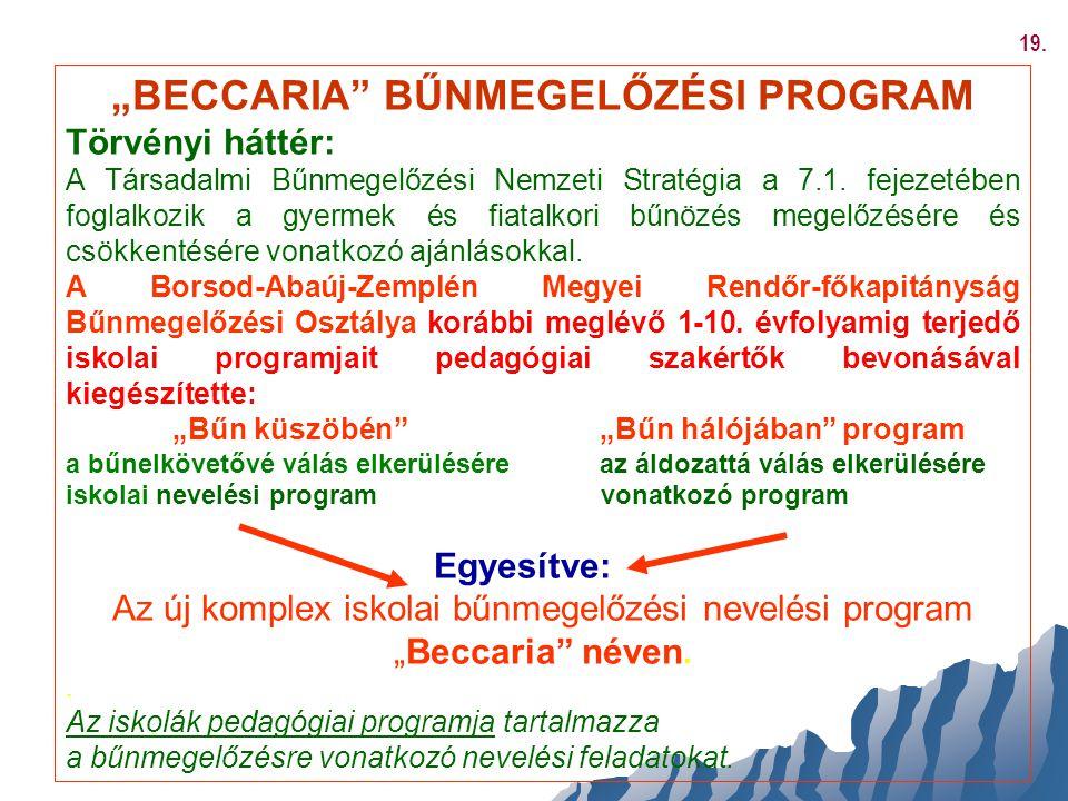 """""""BECCARIA BŰNMEGELŐZÉSI PROGRAM"""