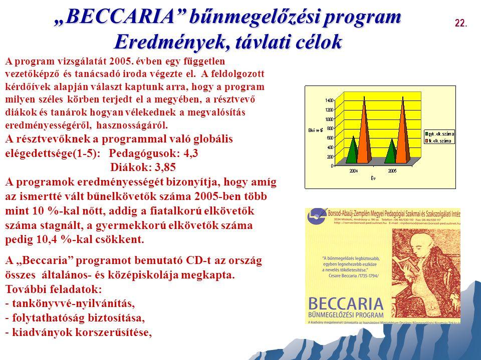 """""""BECCARIA bűnmegelőzési program Eredmények, távlati célok"""