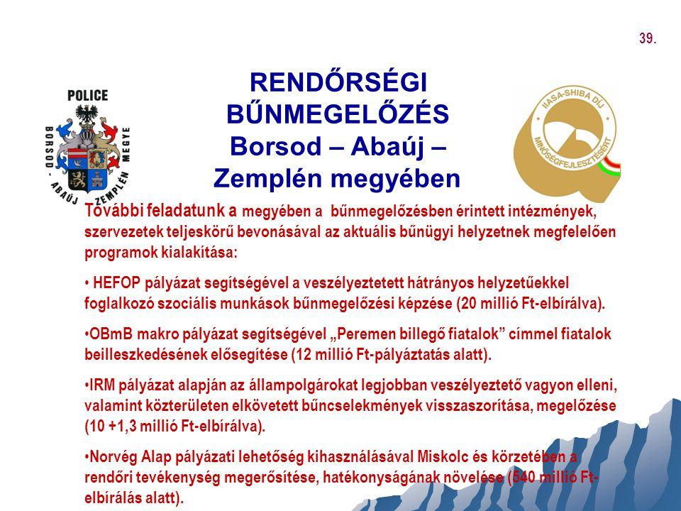 RENDŐRSÉGI BŰNMEGELŐZÉS Borsod – Abaúj – Zemplén megyében