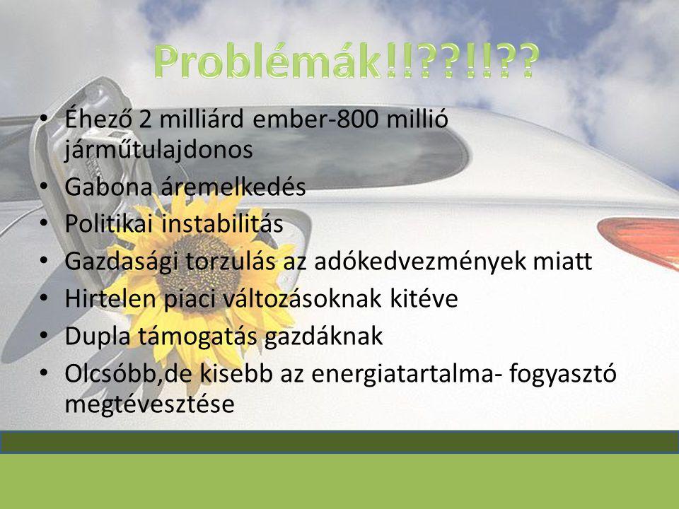 Problémák!! !! Éhező 2 milliárd ember-800 millió járműtulajdonos