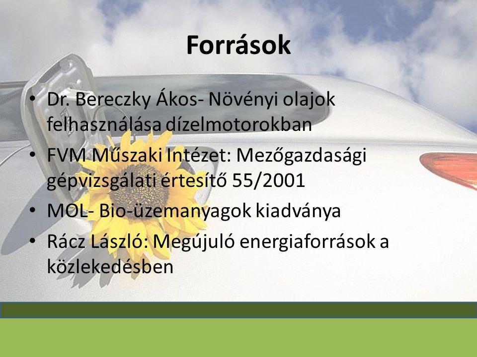 Források Dr. Bereczky Ákos- Növényi olajok felhasználása dízelmotorokban. FVM Műszaki Intézet: Mezőgazdasági gépvizsgálati értesítő 55/2001.