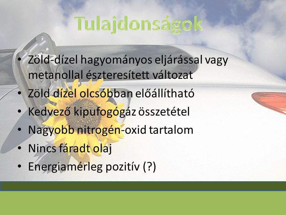 Tulajdonságok Zöld-dízel hagyományos eljárással vagy metanollal észteresített változat. Zöld dízel olcsóbban előállítható.