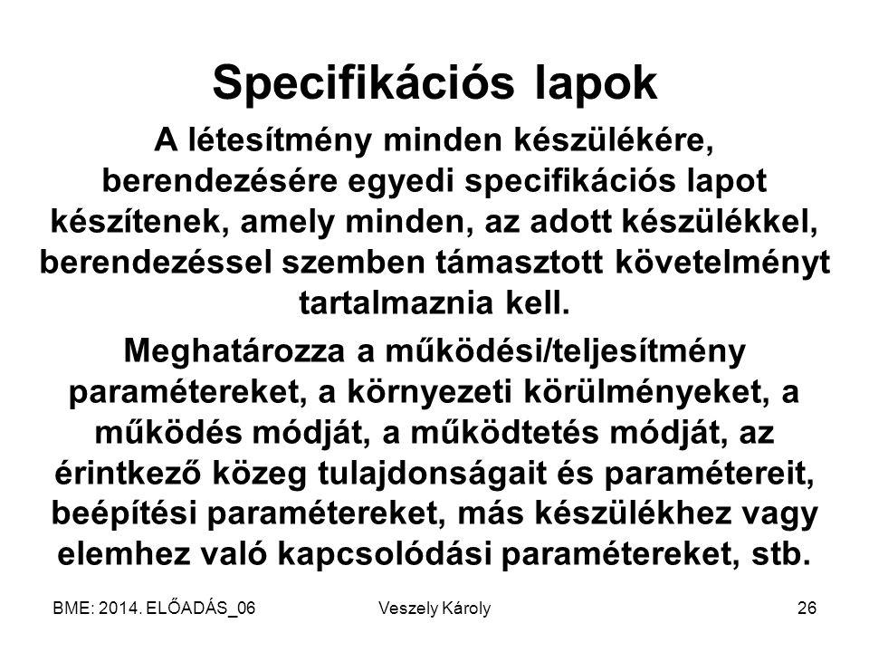 Specifikációs lapok