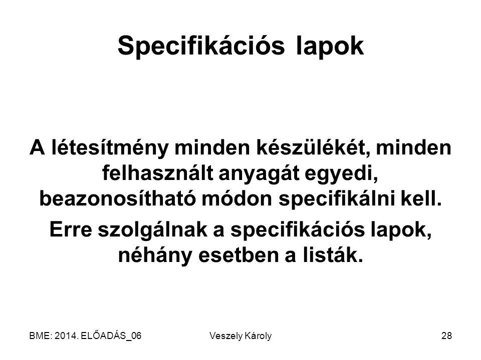 Erre szolgálnak a specifikációs lapok, néhány esetben a listák.
